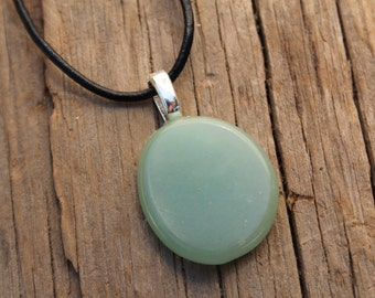 Green Aventurine Palm Stone on a Leather Cord Necklace
