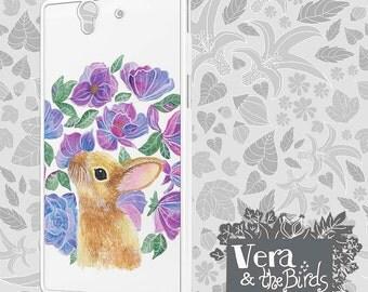 Sony Xperia Z3 rabbit and flowers case, Sony Xperia Z2 case, Sony Xperia Z1 case, Sony Xperia Z1 compact case, Sony Xperia illustrated case