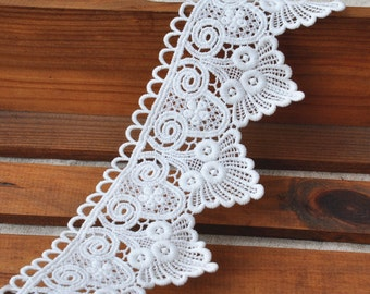 White Floral Lace Trim  Embroidery Tulle Lace Trim 2.75 Inch Wide 2 Yards B087