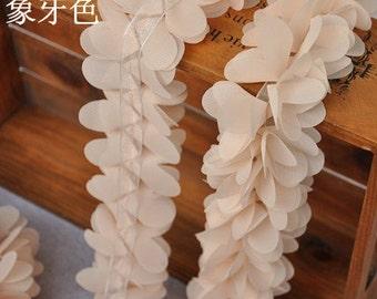 High Quality Ivory Chiffon Flowers Lace Trim DIY Handmade Accessory 1 Meter B099