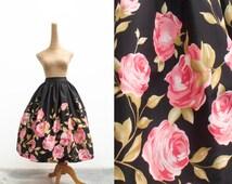 "Lola Skirt ""Tea Time in the Rose Garden"" in a Black Rose Floral Border Print"