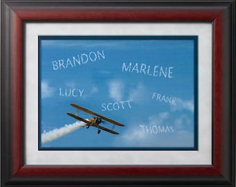 Framed Personalized Skywriter Plane Print