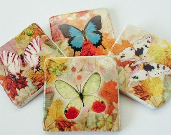 Butterfly Coasters - Butterflies - Autumn - Natural Stone Tile - Housewarming Gift - Hostess Gift - Set of 4