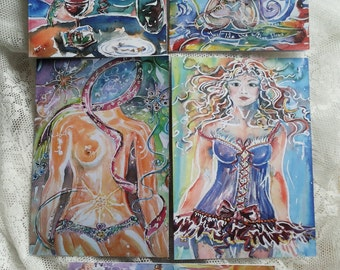 Set 5 Cards art cards with women/Pink Ribbon/Francaise Beret/Naked woman in water/Corselette/port redhead Girl clean