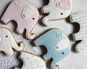 10 Elephant Baby Shower Cookies - Baby Shower Biscuits - Baby Shower Party favours