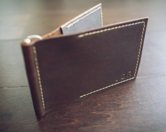 Custom Money Clip Wallet Leather. Card Wallet. Handmade personalized gift for your Husband, Wife, Boyfriend, Father, Groomsman.