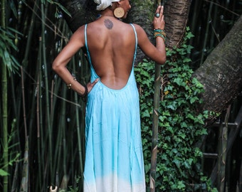 Maxi Long Dress Back Open Turquoise/Mint and Tourquoise/White
