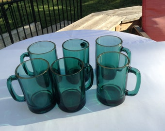 Vintage Emerald Green Tumblers with Gold Trim  Single Handle  Set of 6