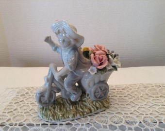 Vintage Boy on Bicycle With Roses Figurine