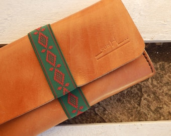 Leather with decorative ribbon wallet