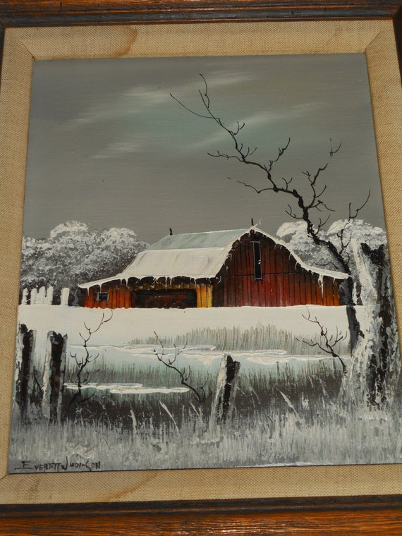 Everett Woodson Signed Oil On Canvas Snow Covered Barn Winter