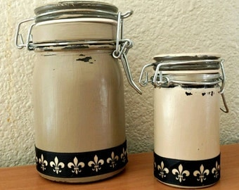 Round hand painted glass clamp lid jars, Beige/tan, distressed with black ribbon, set of 2