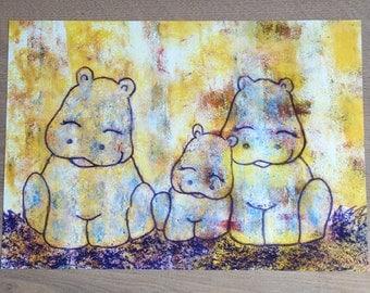 A3 poster nursery hippos