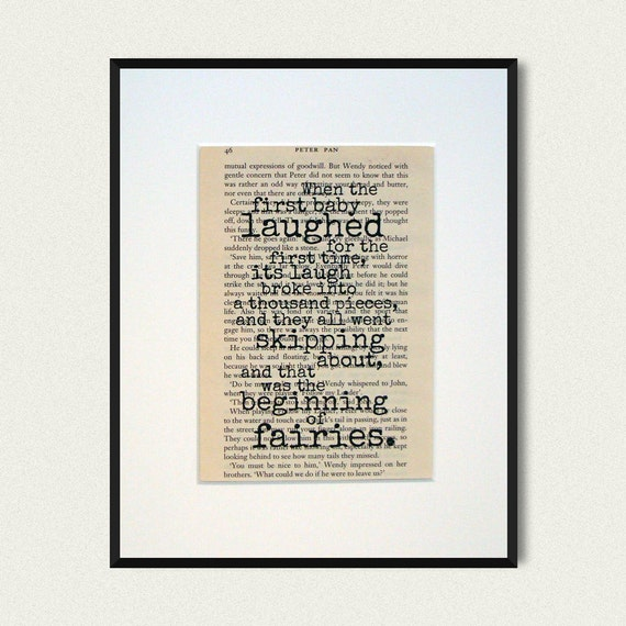 Quotes To Write In Books For Baby: Peter Pan Book Quote Print Baby Shower Gift By NoodleBookArt