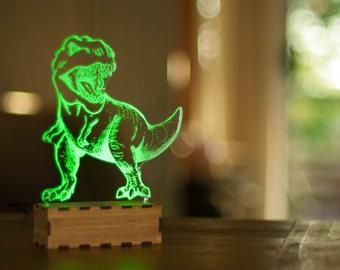 DInosaur Night Light, T-Rex desk lamp, Desk accessory, USB led lamp, table lamp, jurassic USB lamp, Tyrannosaurus Rex