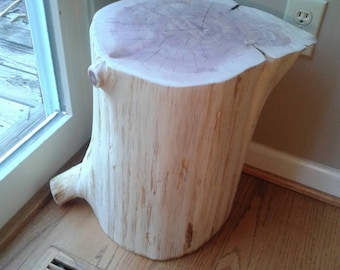 "Short Fat Cedar Stump Stool Table 12"" - 14"" wide - Custom Heights Available"