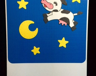 The Cow Jumped Over The Moon Baby Greeting Card