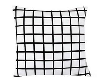 White and black grid print cushion cover | 100% Cotton | 45 x 45cm