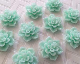 Flower Magnet Set of 10 - Mint Green Flowers - stocking stuffer, dorm decor, hostess gift, weddings, bridal shower, baby shower, gift