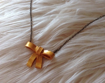Gold Bow Necklace, Gold Bow, Gift Idea, Birthday Gift, Teenage Gift, Teenager Gift