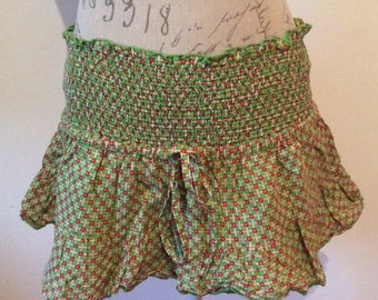 Pretty green cotton mini skirt / summer skirt