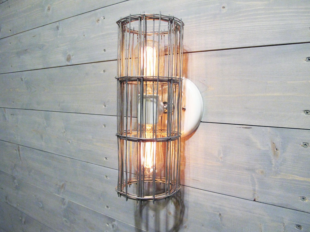 Caged Wall Sconce With Switch : Industrial Wall Sconce or Ceiling Light w/ Two Light by VexDecor