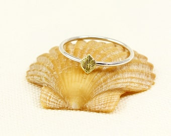Leaf Ring, Sterling Silver, Gold Brass Leaf, Tiny Leaf Ring, Stacking Ring, Pinkie Ring