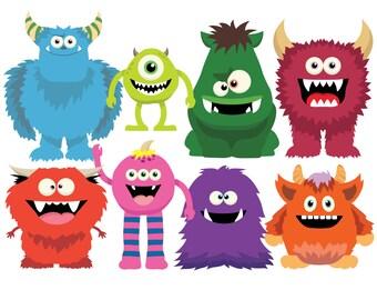 MONSTERS Clip Art, Cute Monsters Clip Art Set / Instant Download