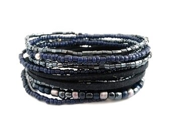 Dark Blue Beaded Wrap Bracelet Beaded Jewelry Seed Bead Stretch Bracelet Blue Bracelet Boho Bracelet Dark Blue Jewelry Wrap Jewelry
