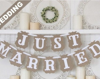 "Photo props ""Just Married"" Bunting Banner Wedding Party"
