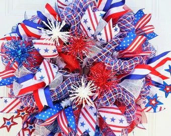 Memorial Day Wreath-4th of July Wreath-Patriotic Deco Mesh WreathRed, White, Blue Door Wreath-Patriotic Decor-Gift Idea-July 4th Wreath
