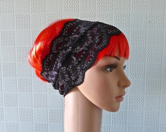 black lace hair scarf, black lace headband, gothic bandana, black goth lace hairband