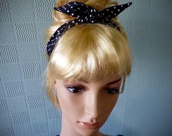 Black and white polka dot, retro vintage inspired, rockabilly hair scarf, headband, dolly bow, hair wrap black with white spots
