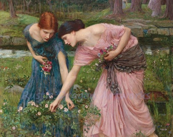 "John William Waterhouse ""Women Picking and Gathering Rosebuds"" Flowers Roman 1909 Reproduction Digital Print"