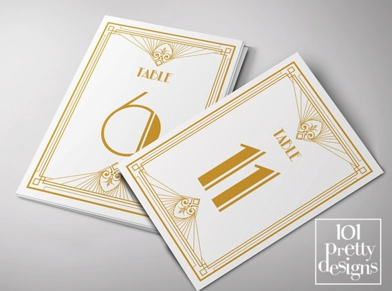 art deco wedding table cards printable table numbers templates gold glitter table signs gatsby. Black Bedroom Furniture Sets. Home Design Ideas