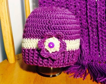 Purple beanie hat with matching purple scarf for ladies