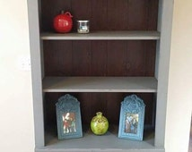 SOLD - Ethan Allen Painted Tall Bookshelf in Grey