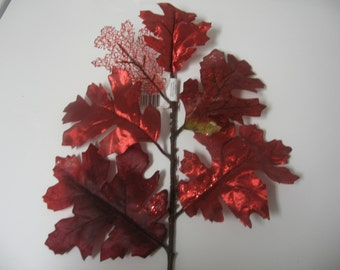 Fall Decor-Fall Leaf Stems-Artificial Fall Bushes-Artificial Fall Stems-Fall Leavesl-Fall Picks-Fall Floral-Red Leaves-Silk Leaves