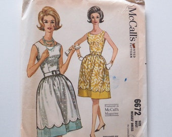 Vintage 1962 McCall's dress pattern, by Claude Riviere, Bust 32, size 12, uncut, full skirt, sleeveless