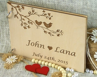 Beautiful LOVE BIRDS personalized Wedding Guest Book, Anniversary - Bridal shower - Birthday Gift, Memory Book, Photo Prop, Rustic Chic