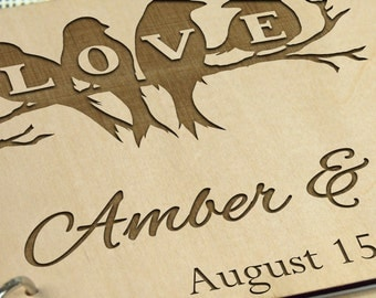 Unique personalized Wedding-Anniversary-Bridal shower guest book/gift, Memory album, Photo album, Gift for couple, Laser engraved, Custom