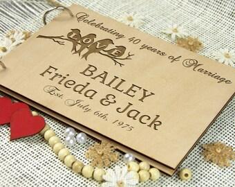 40th Wedding Anniversary Guest Book, Ruby Anniversary, Personalized Wedding Anniversary Gift for Couple, Custom Memory Album, Memorable Gift
