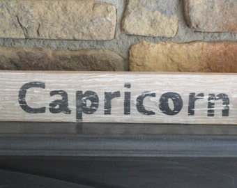 Wood signs sayings, Capricorn , horoscope, zodiac  wooden wall decor,  reclaimed wood signs, kitchen  decor