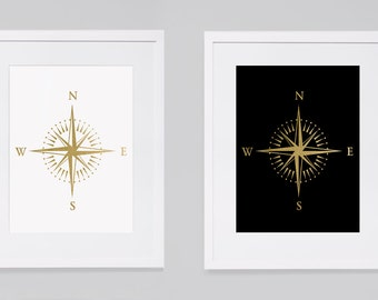 Gold compass printable wall art travel poster, travel print compass gold travel adventure art, motivational poster for traveller gold foil