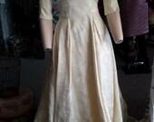 Vintage 1950s brocade wedding, ivory wedding dress. FREE SHIPPING!
