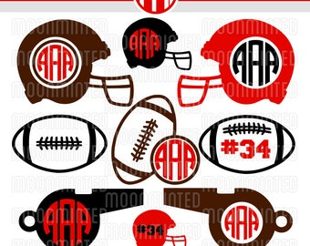 football svg cut files monogram frames for vinyl cutters screen printing silhouette die cut machines more