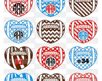 Football Hearts SVG Cut Files - Monogram Frames for Vinyl Cutters, Screen Printing, Silhouette, Die Cut Machines, & More