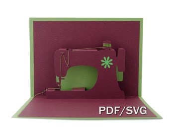 Templates PDF & SVG for Sewing machine 3D pop up card