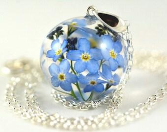 Forget-me-not Pendant, Blue Flower Pendant, Nots Resin Pendant, Blue Silver Pendant, Blue Myosotis Sylvatica Necklace, Nots Jewelry