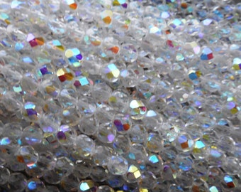 25 6mm Crystal AB, faceted round firepolished glass beads C7325